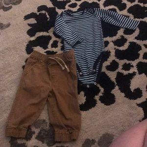 Other - Khaki Pant/Stripped Onesie